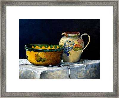 Still Life With Bowl And Pitcher Framed Print by John OBrien