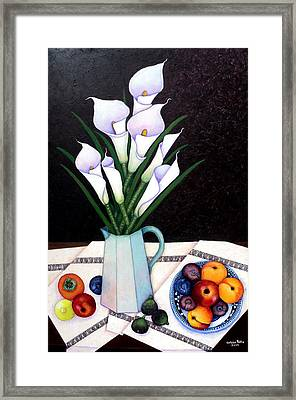 Still Life With Callas Framed Print by Madalena Lobao-Tello