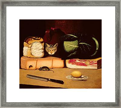 Still Life With Cat And Mouse Framed Print