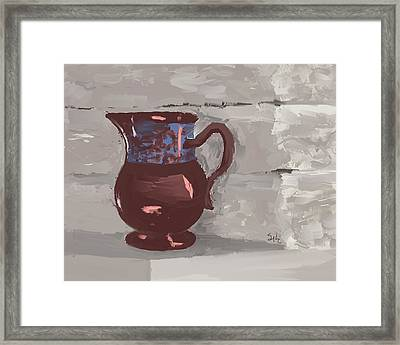 Still Life With Copper Luster Jug Framed Print by Sarah Countiss