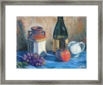 Still Life With Crock And Apple Framed Print by Michael Camp