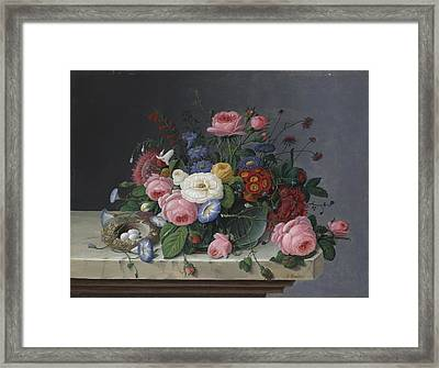 Still Life With Flowers And Bird's Nest Framed Print