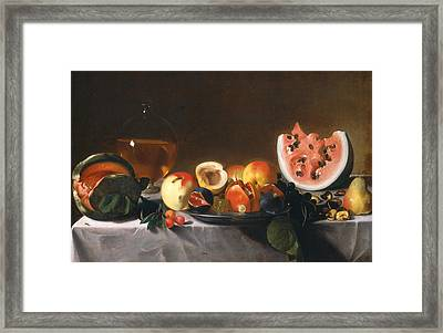 Still Life With Fruit And Carafe Framed Print by Pensionante del Saraceni