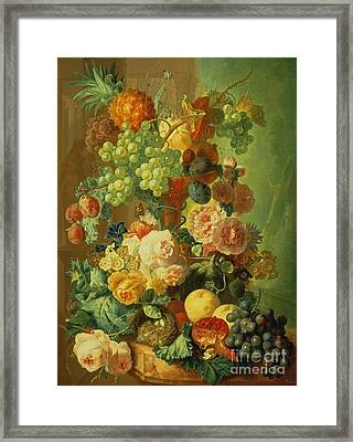 Still Life With Fruit And Flowers Framed Print by Jan van Os