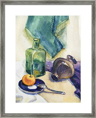 Still Life With Green Bottle Framed Print