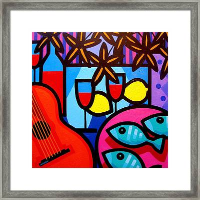 Still Life With Guitar And Fish Framed Print by John  Nolan