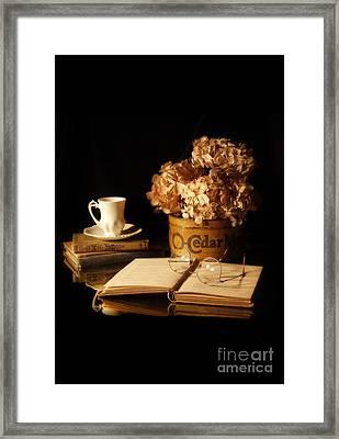 Still Life With Hydrangea And Books Framed Print by Jill Battaglia