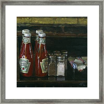 Still Life With Ketchup Framed Print by Ted Papoulas