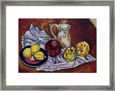 Still Life With  Lemons And Quinces Framed Print by Vladimir Kezerashvili