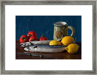 Still Life With Mackerels Lemons And Tomatoes Framed Print by Juan Carlos Ferro Duque
