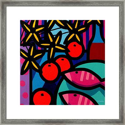 Still Life With Magenta Fish Framed Print by John  Nolan