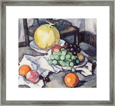 Still Life With Melons And Grapes Framed Print by Samuel John Peploe