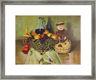 Still Life With Moms Needle Work Framed Print