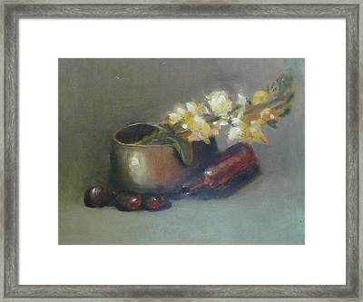 Still Life With Om Bowl Grapes And White Flowers Framed Print