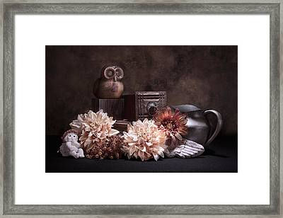 Still Life With Owl And Cherub Framed Print by Tom Mc Nemar