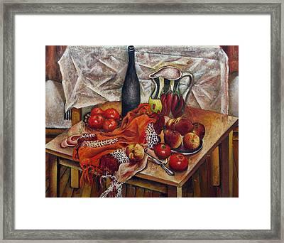 Still Life With Peaches And Tomatoes Framed Print by Vladimir Kezerashvili