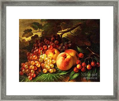 Still Life With Peaches Framed Print by Pg Reproductions