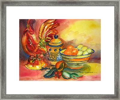 Still Life With Rooster Framed Print
