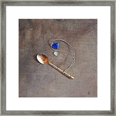 Still Life With Teaspoon And Sea Glass Framed Print by Elena Kolotusha