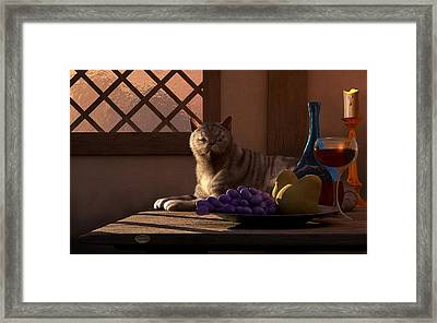 Still Life With Wine Fruit And Cat  Framed Print