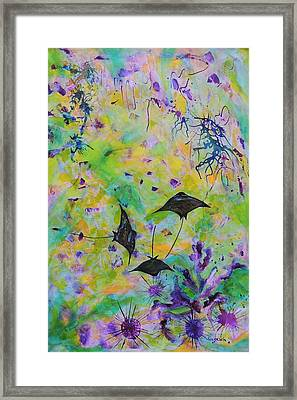 Framed Print featuring the painting Stingrays And Coral by Lyn Olsen