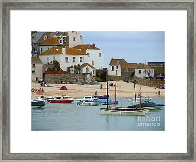 St.ives Harbour Framed Print by Anne Gordon