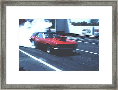 Framed Print featuring the photograph Stock Car Burning Rubber by Tom Wurl