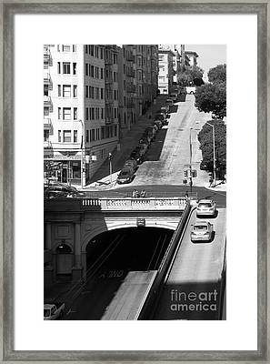 Stockton Street Tunnel Midday Late Summer In San Francisco . Black And White Photograph 7d7499 Framed Print by Wingsdomain Art and Photography