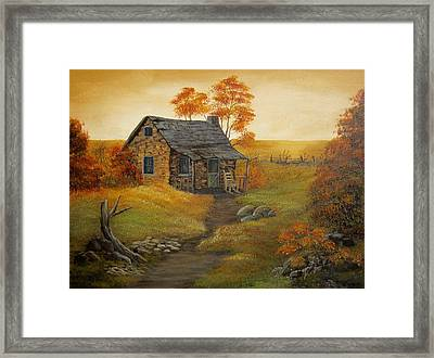 Stone Cabin Framed Print by Kathy Sheeran