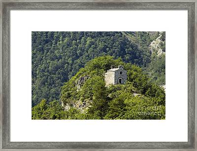 Stone Chapel Perched On A Peak Framed Print by Jon Boyes
