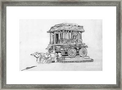 Stone Chariot Hampi Vijayanagar Empire Framed Print by Shashi Kumar