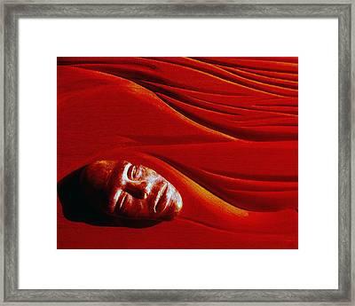 Stone Face Mahogany Framed Print by Charles Dancik