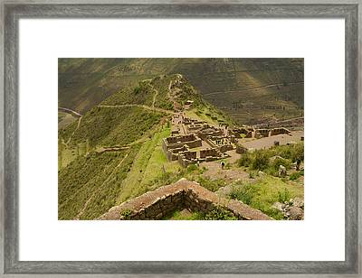 Stone Ruins At Pisac National Park,sacred Valley Of The Incas Framed Print by Ralph Hopkins