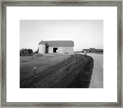 Stone Silo On Hiway C Framed Print by Jan W Faul