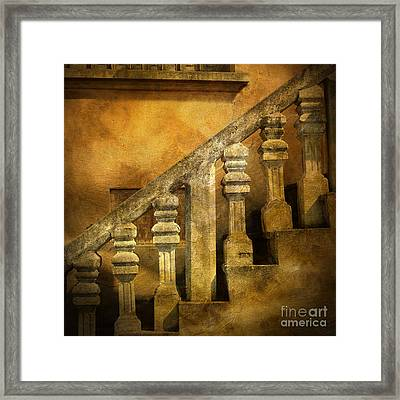 Stone Stairs And Balustrade. Framed Print