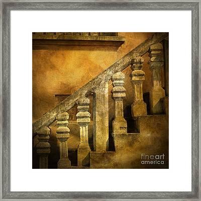 Stone Stairs And Balustrade. Framed Print by Bernard Jaubert
