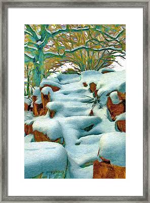 Stone Steps In Winter Framed Print