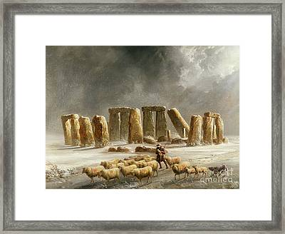 Stonehenge In Winter  Framed Print by Walter Williams