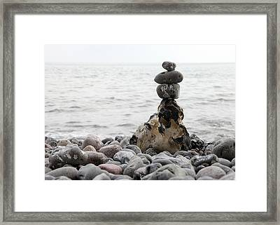Stones At The Sea Framed Print by Falko Follert