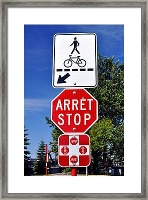 Stop And Crossing Signs. Framed Print by Fernando Barozza
