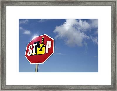 Stop Nuclear Power, Conceptual Artwork Framed Print by Detlev Van Ravenswaay