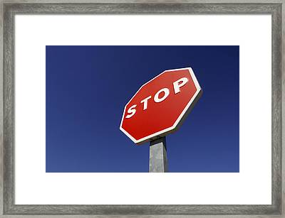 'stop' Road Sign Framed Print by Martin Ruegner