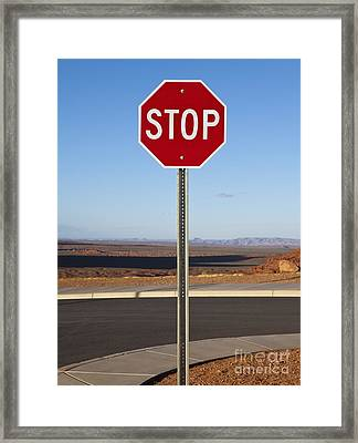 Stop Sign In The Desert Framed Print