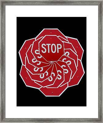 Stop Sign Kalidescope Framed Print by Denise Keegan Frawley