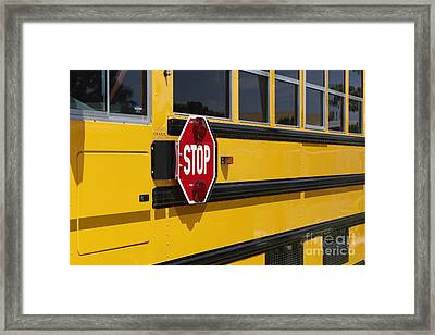 Stop Sign On A School Bus Framed Print by Skip Nall