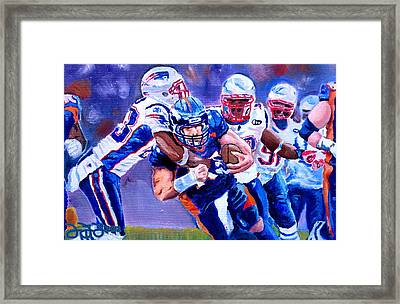 Stopping Tebow Framed Print by Donovan Furin