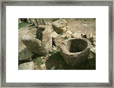 Storage Jars For Olive Oil Framed Print by Sheila Terry