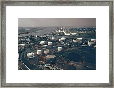 Storage Tanks Of The American Cyanamid Framed Print by Everett