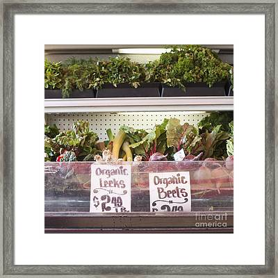 Store Shelf With Leeks And Beets Framed Print by Jetta Productions, Inc