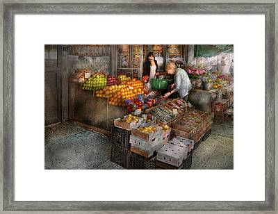 Storefront - Hoboken Nj - Picking Out Fresh Fruit Framed Print by Mike Savad